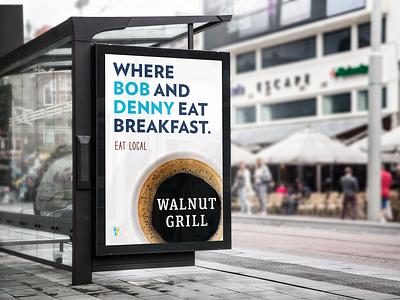 Bob and Denny Campaign wayfinding campaign breakfast billboard layout menu flat clean print ux
