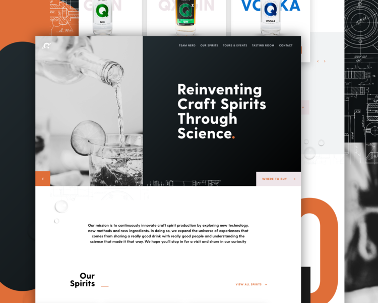 Quantum Wireframe Concept wireframe typography alchohol homepage website layout ux ui
