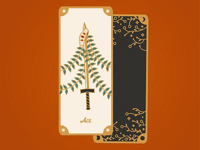 Tarot - Ace of Swords lineart gold black orange tarot deck tarot card tarot vector art adobe design 2d illustration