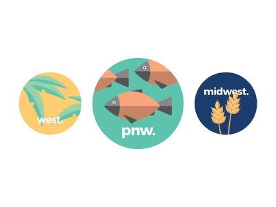 Pedal Region Stickers  west midwest pacific northwest regions illustrator graphic design vector iconography biking pedal stickers