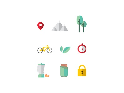 Pedal Icons ux ui fitness biking illustration feather flat iconography