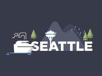 Seattle pnw flat vector illustration seattle