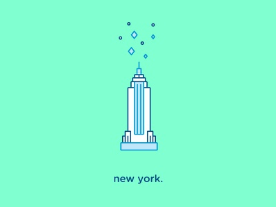 New York Icon vector flat empire state building iconography new york