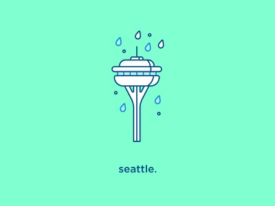 Seattle Icon rain city vector flat icon seattle iconography