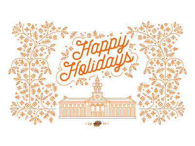 2017 Holiday Card for Oklahoma State University design illustration vector christmas card winter orange mono line holiday card holiday christmas