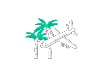 Transportation icon for paperplane iconography branding ux ui vector flat icon trees palm app money budgeting vacation tropical travel