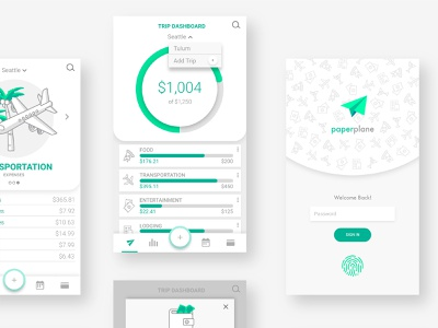 UI details for paperplane vacation tracking money spending budgeting web app travel ux ui graphic design illustration branding flat iconography vector