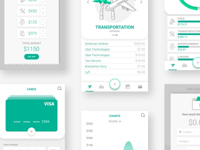 UI details for paperplane vacation money tracking spending app budgeting web travel illustration ux ui graphic design flat branding vector iconography