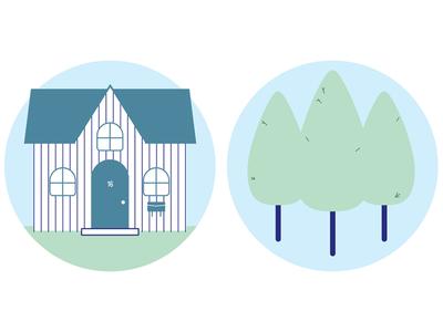 Neighbourhood 3 trees house spot illustration illustration vector