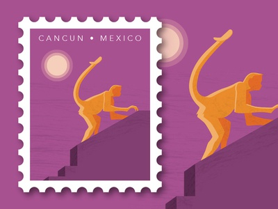Travel Letters: Cancun, MExico stamp design stamp mexico monkey minimal illustration travel illustration travel vector illustration