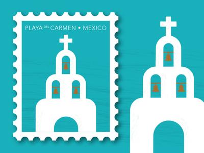 Travel Letters: Playa del Carmen, Mexico minimal illustration chapel church travel illustration stamp design travel spot illustration illustration