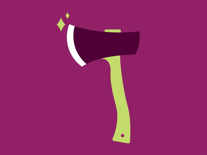 Camping Axe green purple editorial illustration spot illustration icon camping sharp hatchet axe