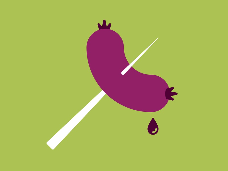 Camping Sausage vector food cooking purple green editorial illustration spot illustration icon sausage weiner hotdog camping