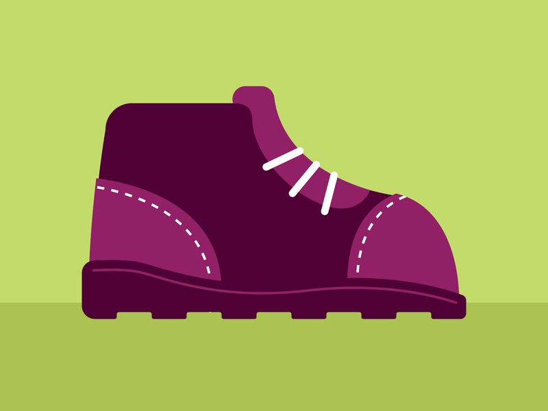 Hiking Boot green purple hiking camping fashion shoe boot icon illustration editorial illustration spot illustration vector