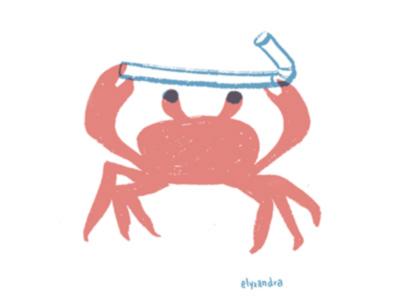 Plastic Ocean - Crab marine life global warming recycle crab ocean life editorial illustration spot illustration