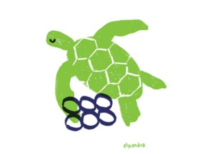 Ocean Plastic - Turtle single use plastic spot illustration recycle ocean life marine life global warming editorial illustration turtle