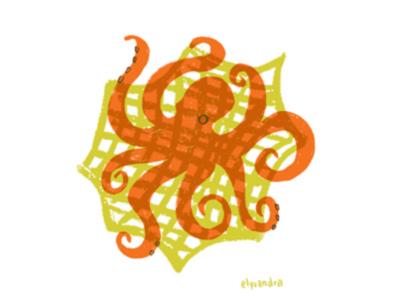 Ocean Plastic - Octopus fishing nets octopus single use plastic ocean life marine life global warming spot illustration editorial illustration