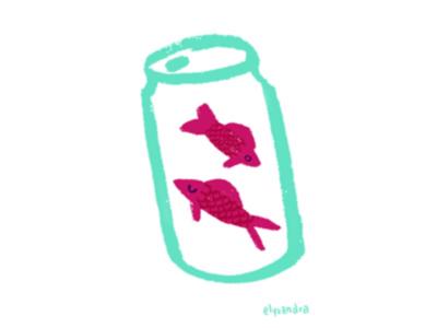 Ocean Plastic - Canned Fish spot illustration fish ocean life marine life global warming editorial illustration