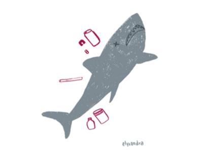 Plastic Ocean - Shark ocean life save the ocean shark pollution spot illustration editorial illustration