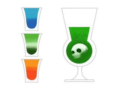 Last Call minimal skull thin line mixology drinks beverages shots absinthe alcohol simplified procreate spot illustration editorial illustration