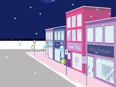 Christmas Shopping boutique downtown small town winter scene christmas shopping shopping small business shop local digital illustration vector art vector illustration