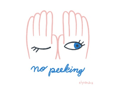 No Peeking gift giving christmas no peeking procreate spot illustration