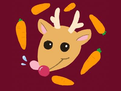 Rudolph loves carrots rudolph reindeer illustration christmas
