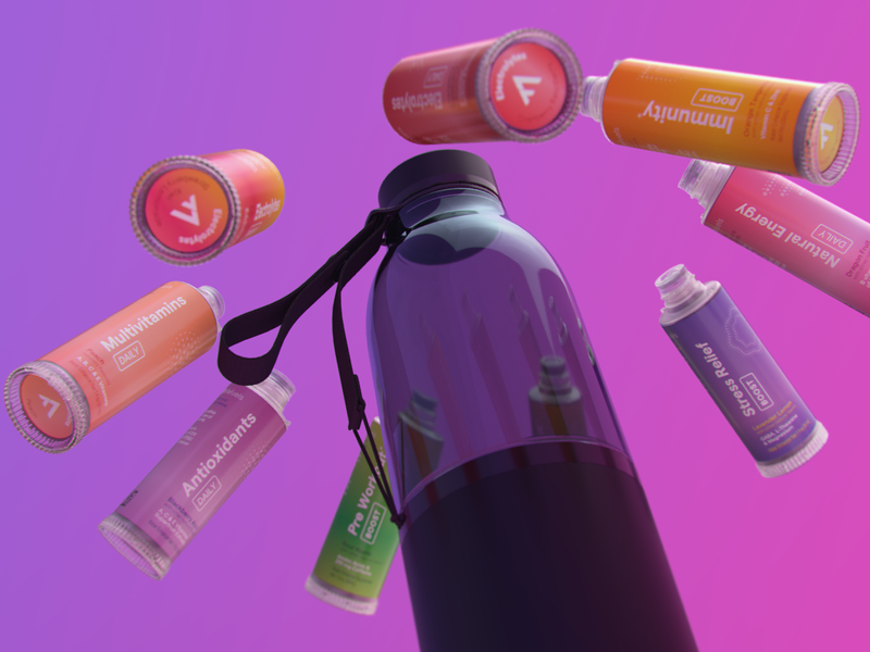 LifeFuels // Pod Array particles liquid 3d artist motion design arnoldrender water bottle c4d 3d