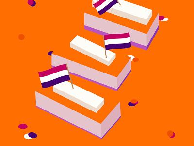 Koningsdag 2020 - Tompouce design negative space holland flat design illustration tompouce kingsday