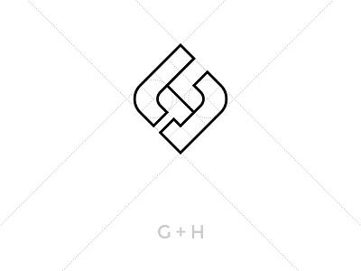 Monogram G H  personal negative space monogram logo h g branding brand