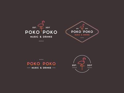 Poko Poko Music & Drinks Pub pub flamingo party music logo carribbean drinks drink cocktail club cafe bar
