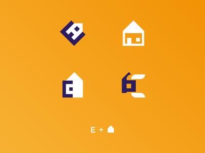 Proposals E + House (Construction company) e monogram logomark mark negative space logo construction house monogram e