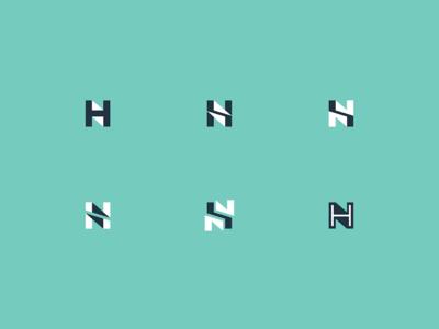 H + N monogram concepts shadow design logo mark negative space h n n h monogram