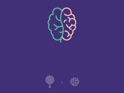 Logo concept for an 'Ecological Psychology' event green brains psychology event logo icon tree ecology