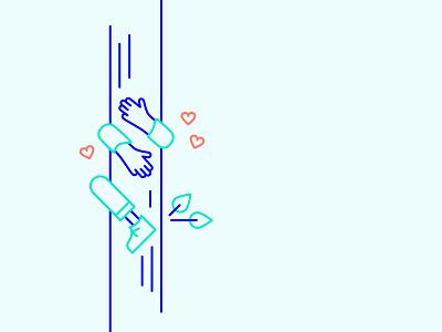 Tree hugger icon design illustration heart climb tree