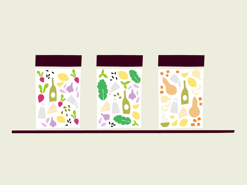 Jar illustrations with cut paper ingredients icon packaging sauce jar food ingredients illustration