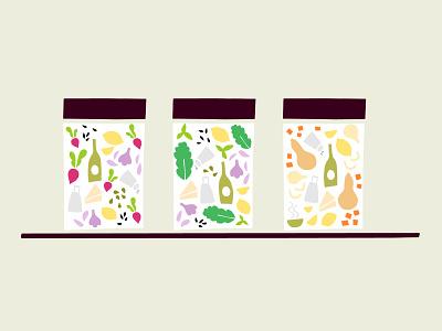 Jar illustrations with cut paper ingredients icon packaging sauce jar food ingredients illustration