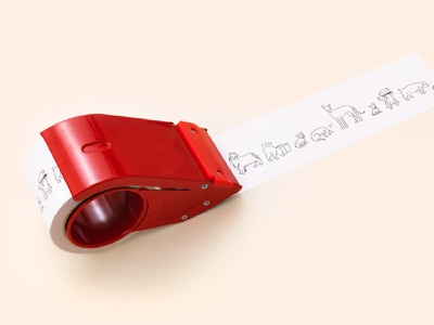 Ollie tape packaging dog branding icon illustration