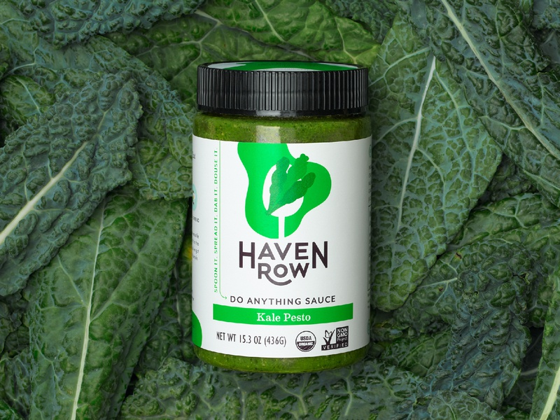 Haven Row jar kale sauce icon illustration branding packaging
