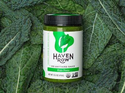 Haven Row jar kale sauce icon illustration branding packaging