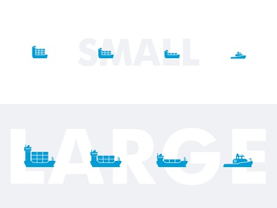 Responsive containership icons container harbour ship boat port geometry minimalistic iconography pictogram scaling responsive icon