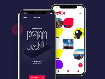Pylife app design social minimal iphone iphonex dashboard kickstarter app design interface