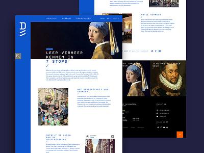 Delft Tourism art vermeer tourism travel desktop website interface design dutch holland delft