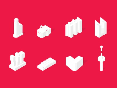 Rotterdam Icons map city dutch skyline building rotterdam isometric 3d icon