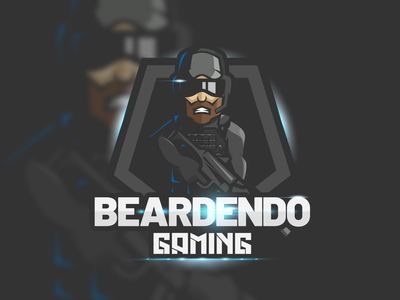 eSports Logo - Beardendo Gaming game gaming shooter fps gun soldier concept brand graphic flare lens logo esports