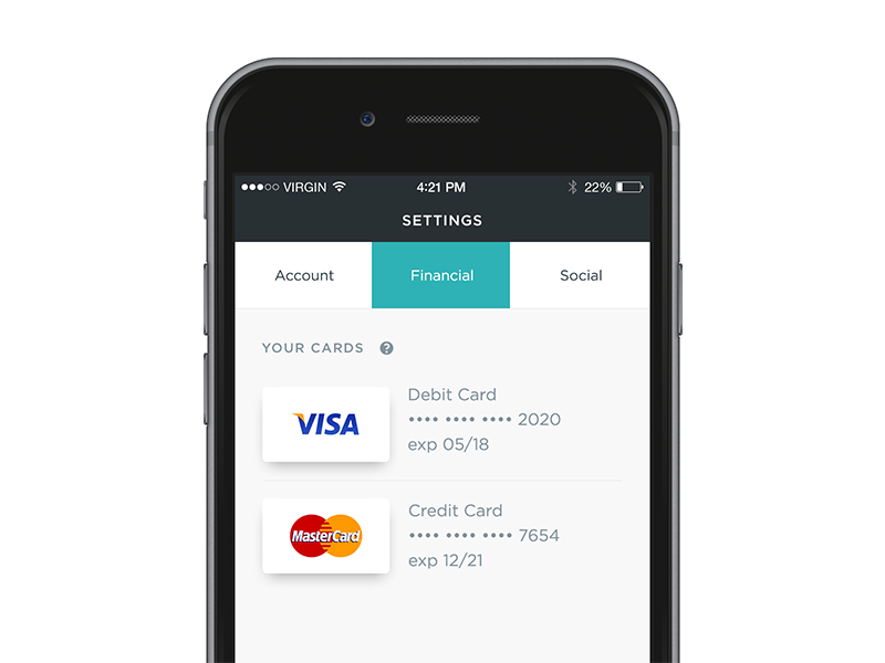App Settings ios mobile ux ui settings account management payments card credit