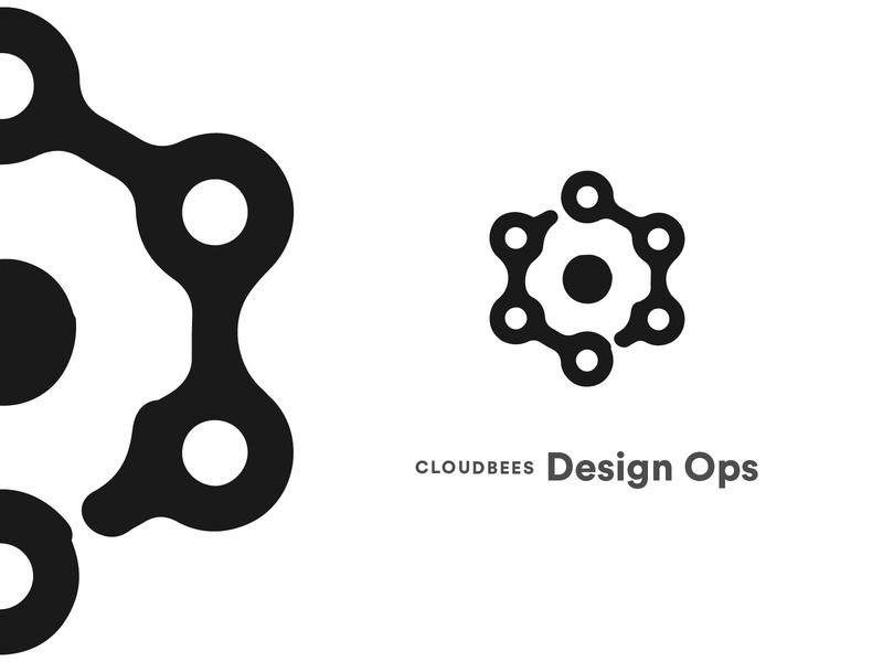 CloudBees Design Operations geometry hexagon chain gear typography operations design design operations team logo graphic design