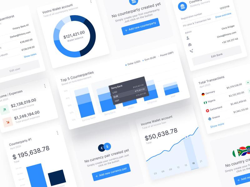 Dashboard Modules - Banking transfer transaction banking interface kpi chart web ui design stats analytic element module design clean ux dashboard ui