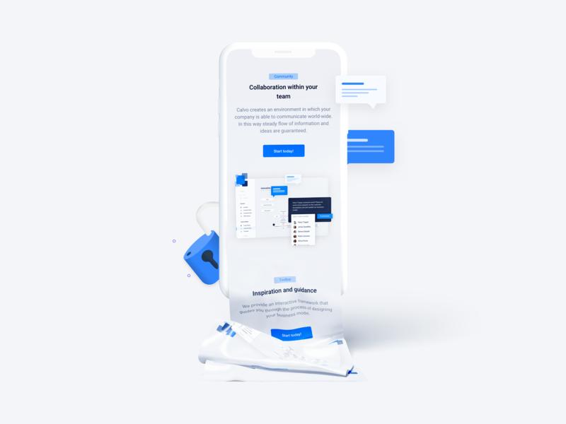 Landingpage clean responsive mobile landing page blue vector character agency illustration website web ui