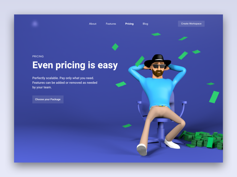 Pricing Page - 3D Illustration ux landing page clean character 3d animation animation ui landingpage website web pricing page pricing c4d 3d